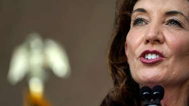 Gov. Kathy Hochul, speaking above in August at