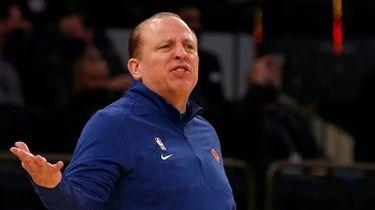 Head coach Tom Thibodeau of the Knicks reacts