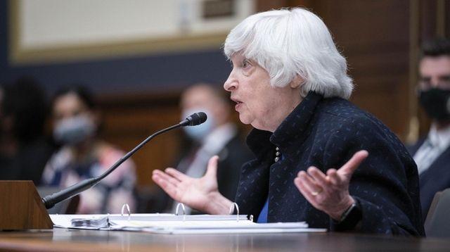 Treasury Secretary Janet Yellen speaks during a House