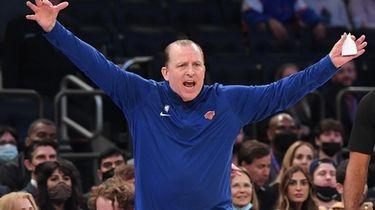 New York Knicks head coach Tom Thibodeau gestures