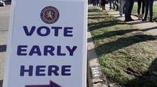 People line up to vote early at the
