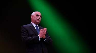 Gen. Colin Powell speaking at the Tilles Center
