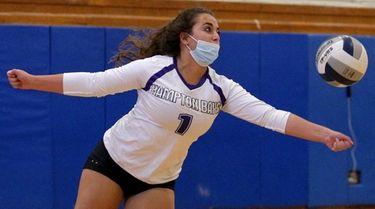 Hampton Bays' Aliyah Cukaj (1) plays the ball