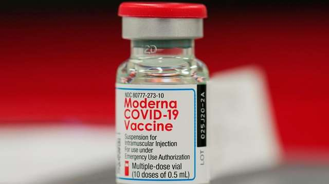 A vial of the Moderna COVID-19 vaccine in