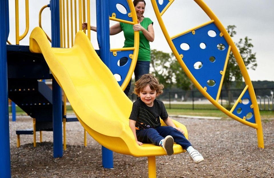 Anthony Capozzi, 4, of Lloyd Neck, plays with