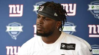 Giants free safety Jabrill Peppers speaks to the