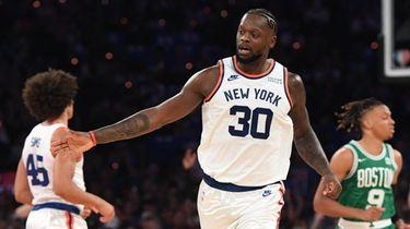 Knicks forward Julius Randle reacts against the Boston