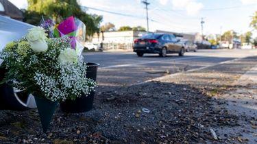 Flowers left near the scene of the crash