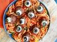 Quick baked meatballs become gruesome eyeballs thanks to