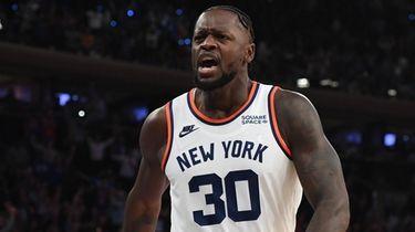 New York Knicks forward Julius Randle reacts after