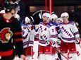 Rangers right wing Barclay Goodrow (21) celebrates along