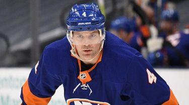 Islanders defenseman Andy Greene looks on against the