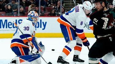Islanders goaltender Ilya Sorokin (30) makes a save