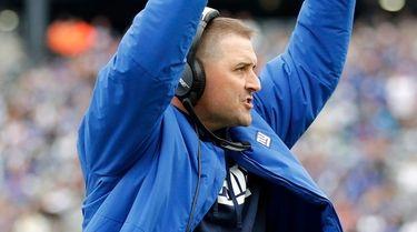 Giants head coach Joe Judge reacts in the