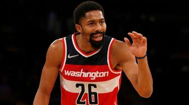 Spencer Dinwiddie of the Wizards reacts during the