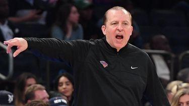 Knicks head coach Tom Thibodeau gestures during the