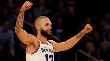 Evan Fournier #13 of the Knicks reacts during