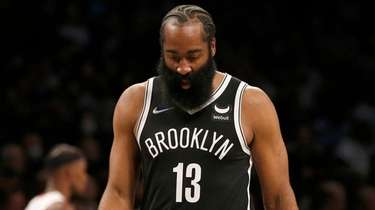 James Harden of the Nets reacts during the