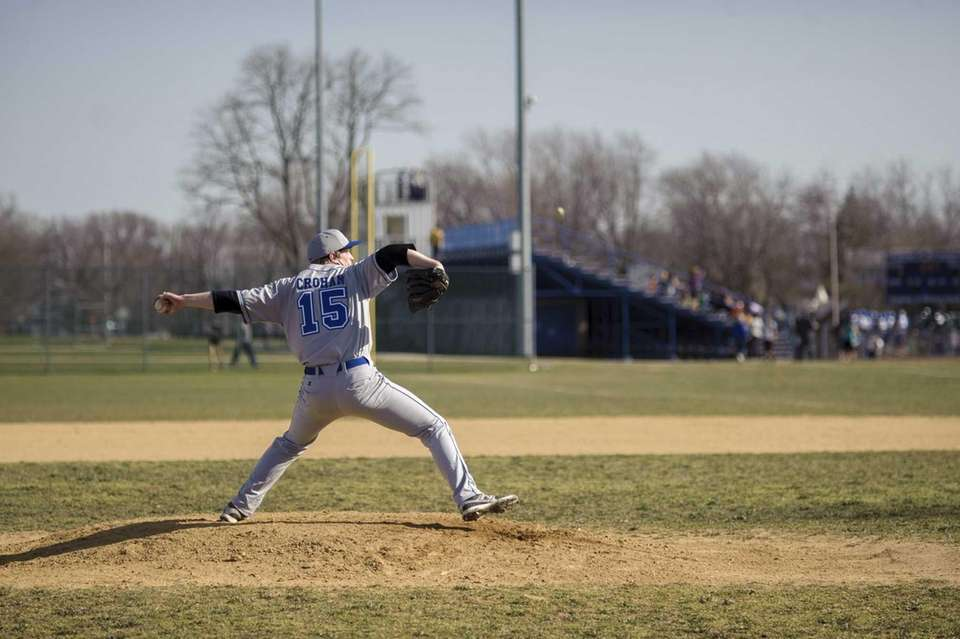 Riverhead High School pitcher Matt Crohan delivers to