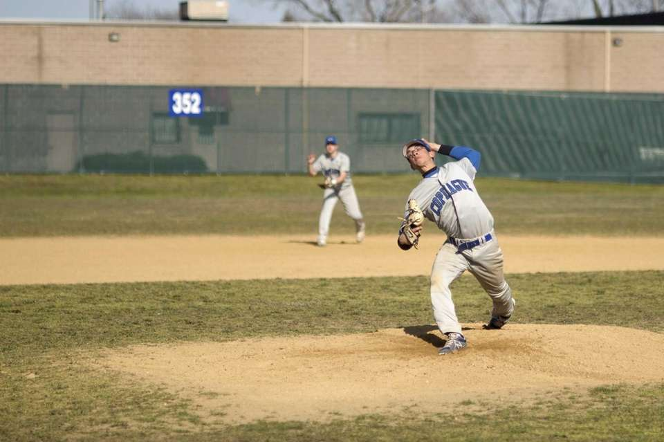Copiague's Ed Collado Jr. delivers a pitch during