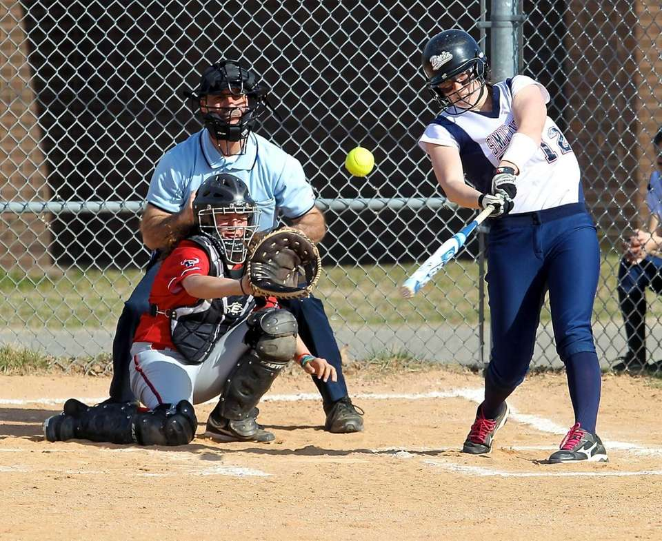 Smithtown West's Kayla McKoy connects for a hit