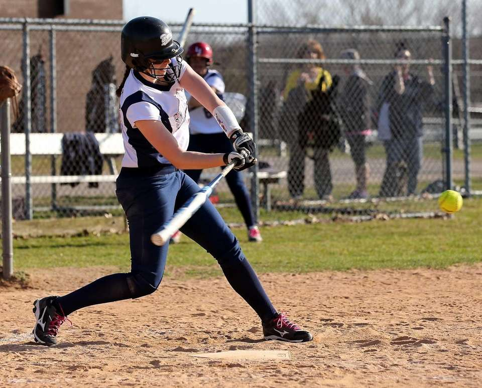 Smithtown West's Kayla McKoy connects for a single