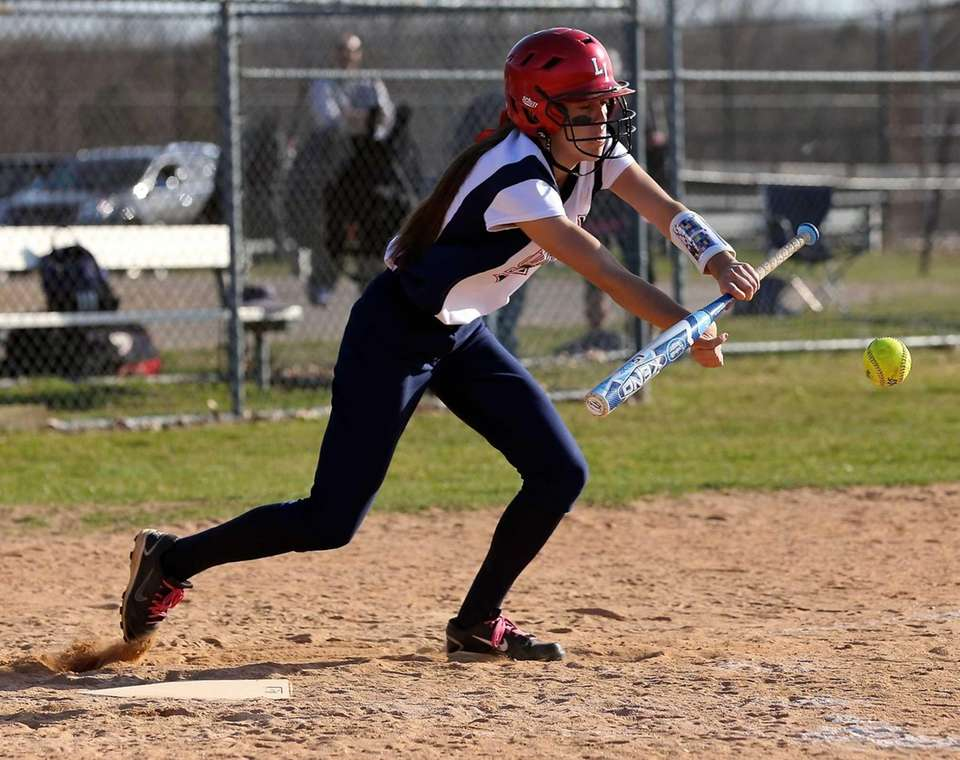 Smithtown West's Melissa Koster lays down a bunt