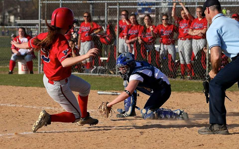 Smithtown West catcher Carissa Kinsella makes the tag