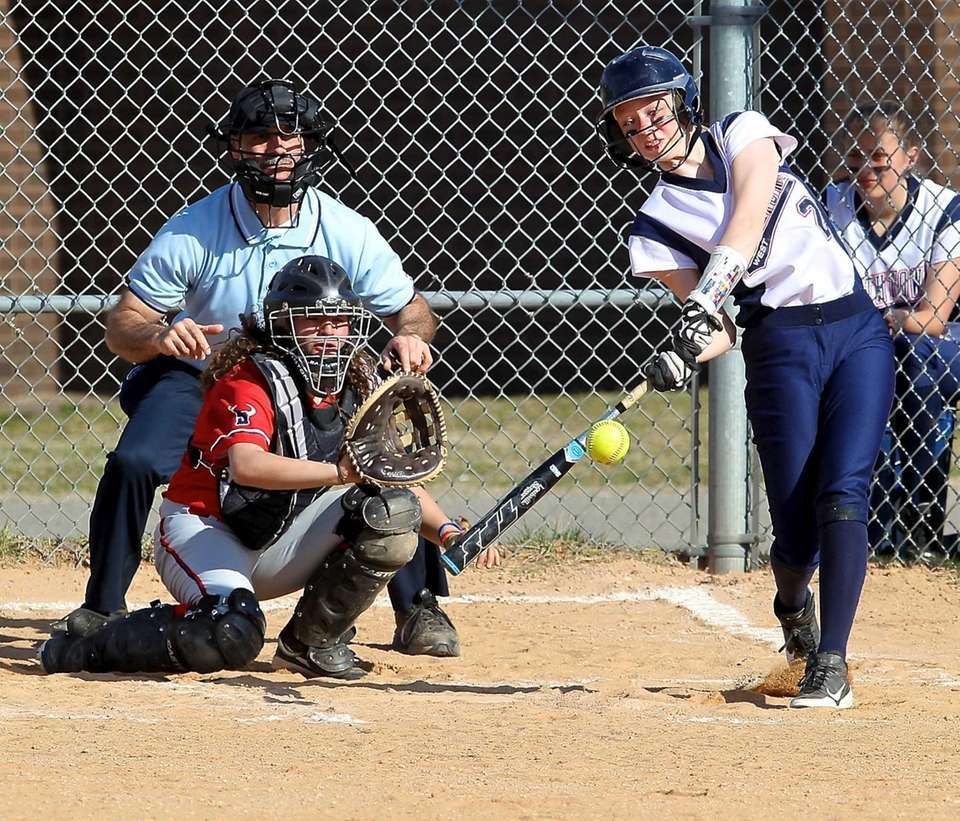Smithtown West's Kassie Furr send a fly ball