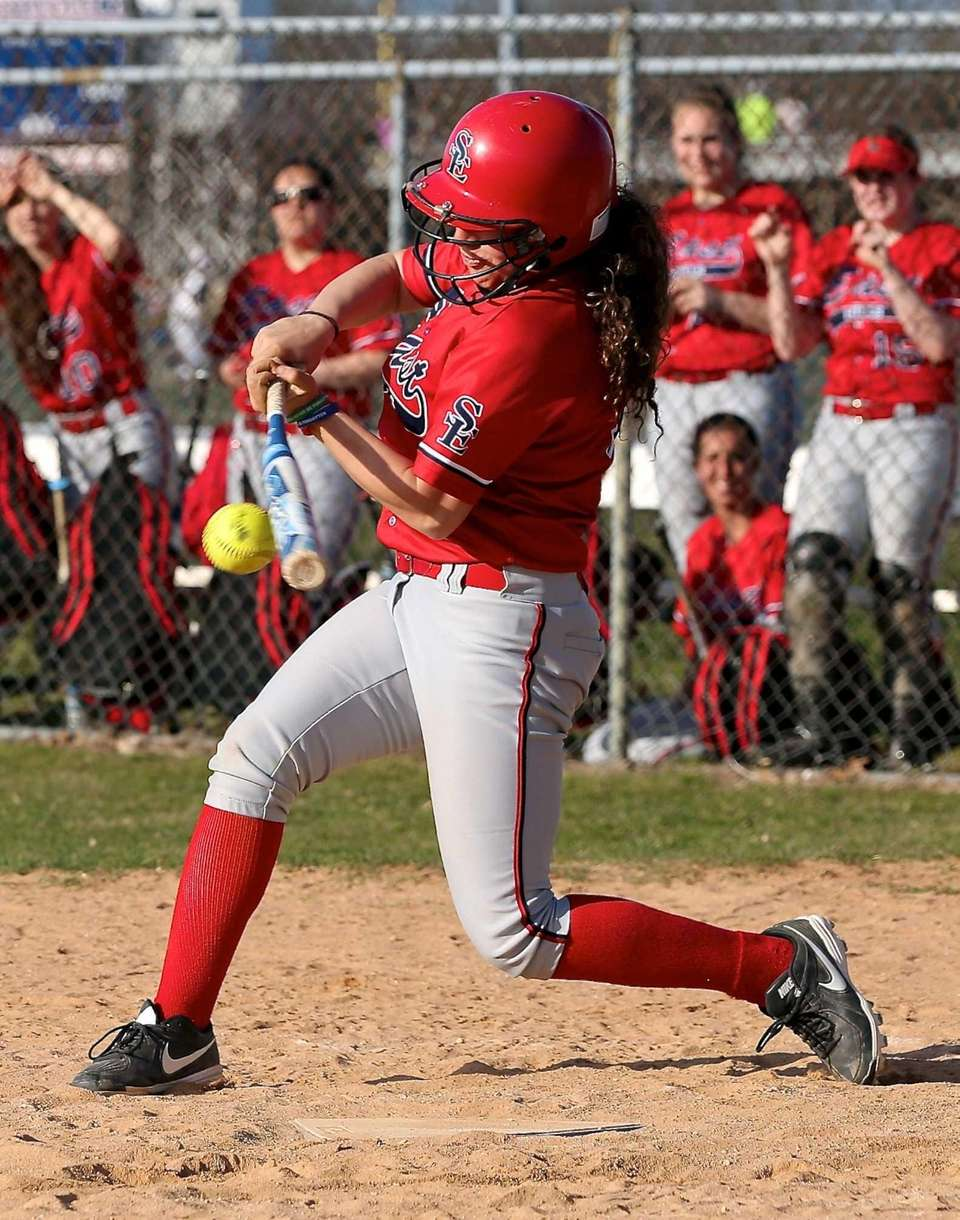 Smithtown East's Stefanie Aplin hits the ball for