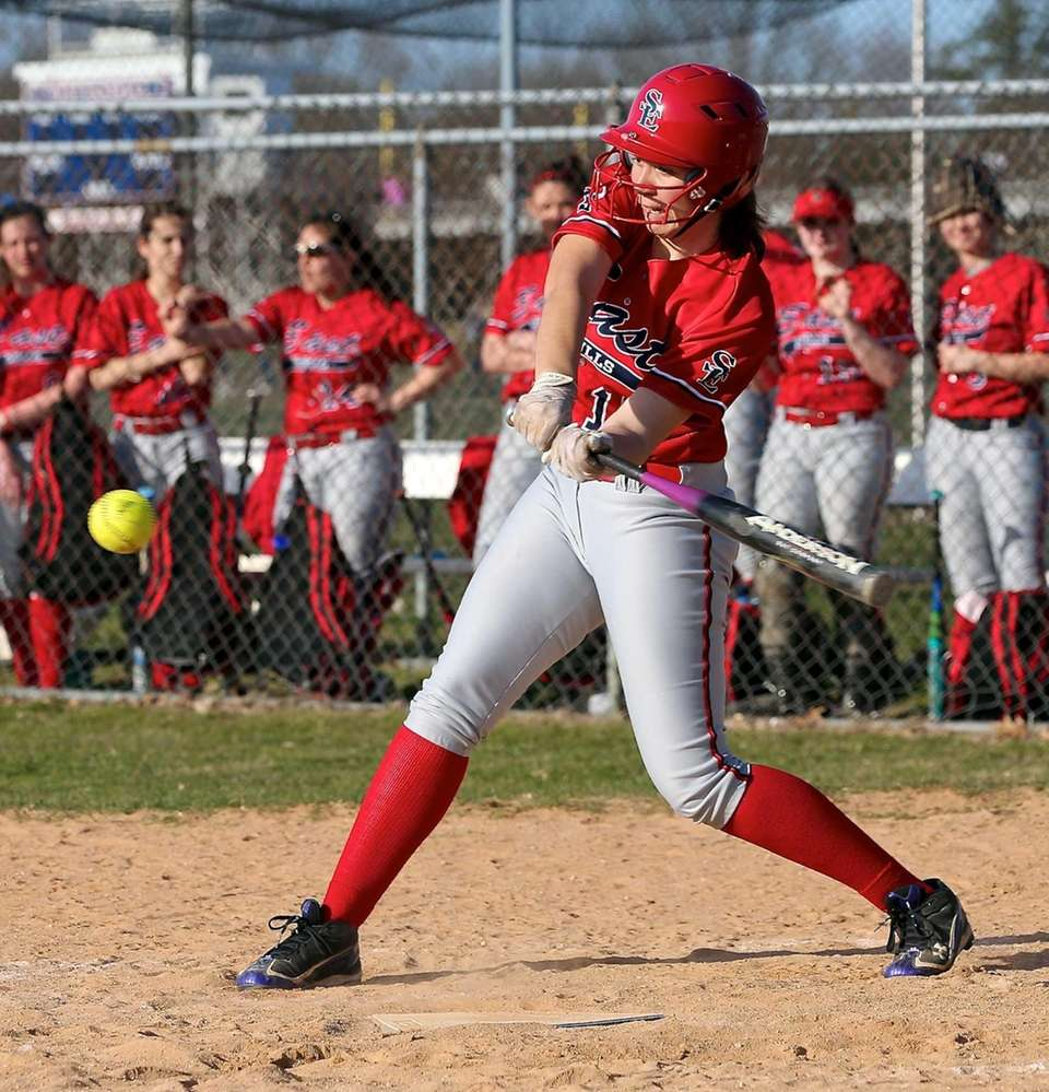 Smithtown East's Danielle Gonzalez connects for a hit
