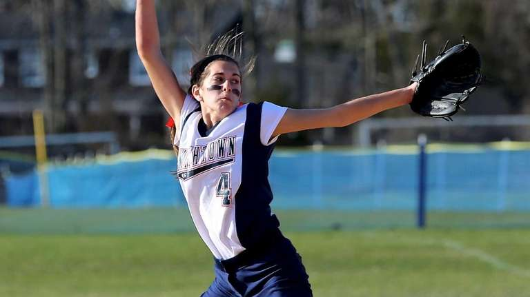 Smithtown West pitcher Melissa Koster delivers a pitch