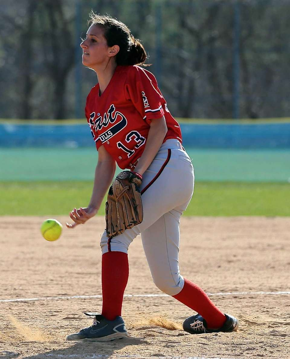 Smithtown East starting pitcher Rebecca Stopsky delivers a