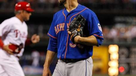 Dillon Gee of the Mets looks on as