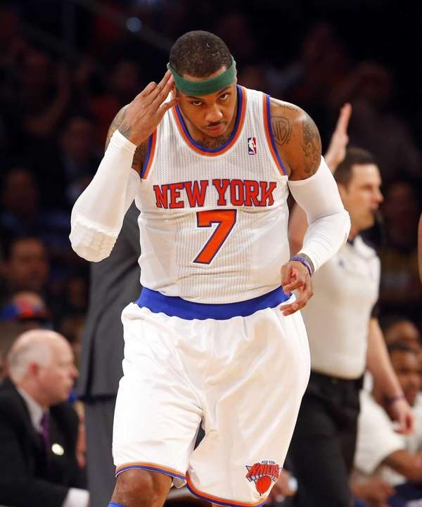 Carmelo Anthony of the Knicks celebrates a three