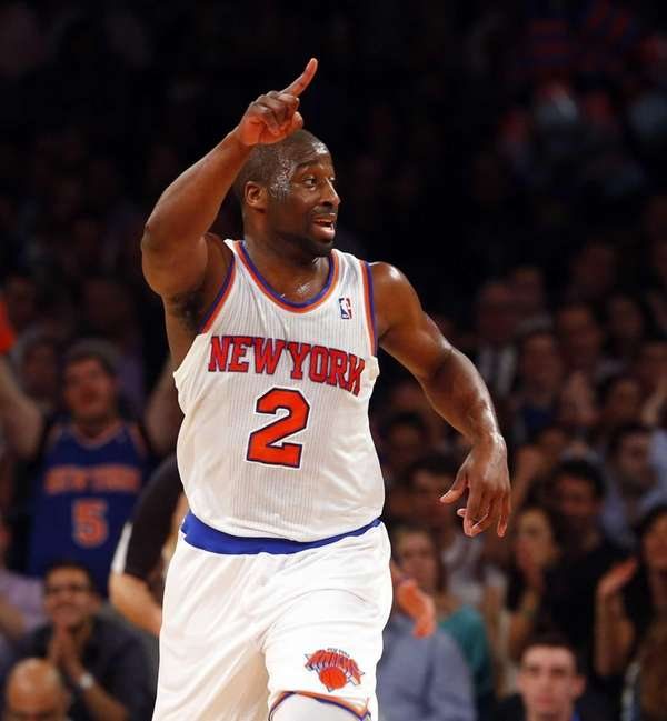 Raymond Felton of the Knicks reacts after scoring