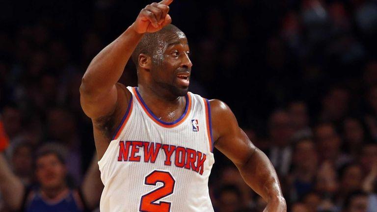 Raymond Felton of the Knicks reacts after scoring