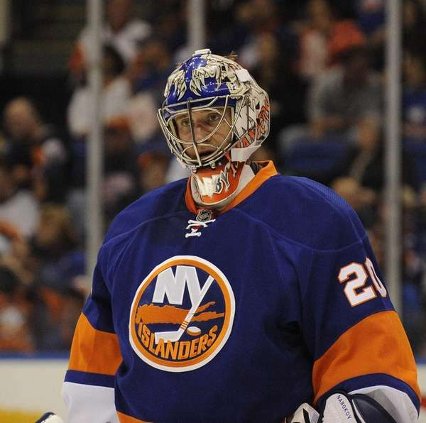Goalie Evgeni Nabokov of the New York Islanders
