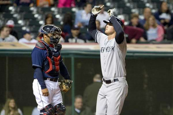 Catcher Yan Gomes to the Cleveland Indians watches