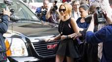 Lindsay Lohan leaves an appearance on the quot;Late