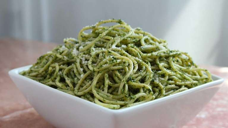 Spinach and pepito pesto linguine is just one