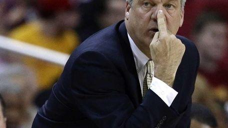 Former Niagara head coach Joe Mihalich gestures as