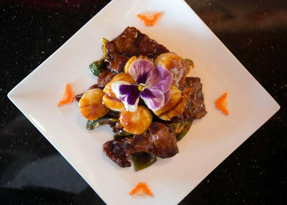 Beef with scallops at Tang Asian Fusion restaurant
