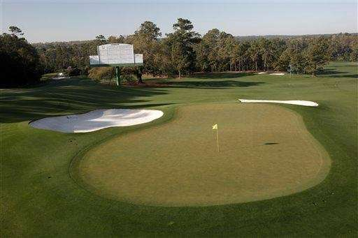 The green on the 18th hole is shown