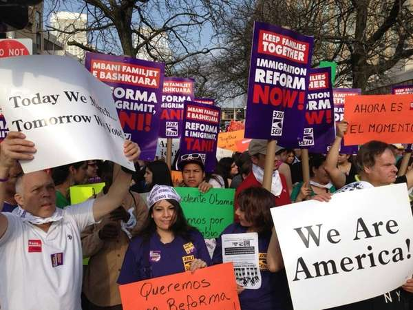 Many gather during a rally for immigration reform
