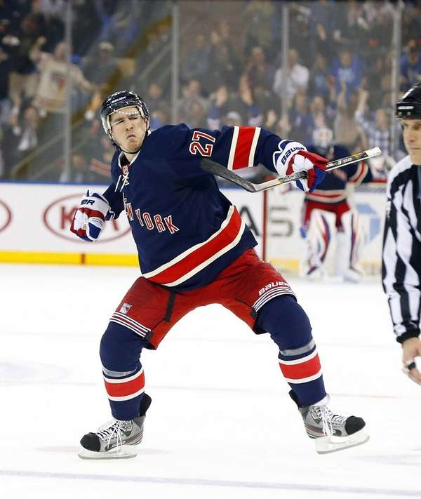 Ryan McDonagh celebrates his second-period goal during a