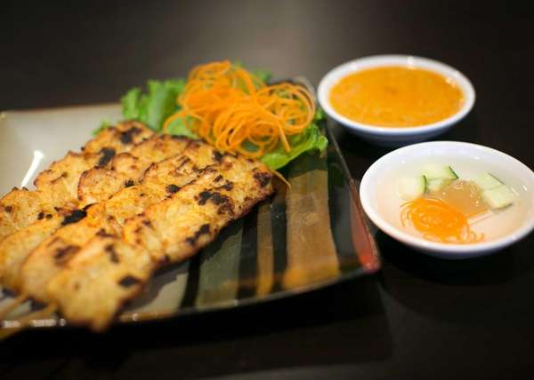 The chicken satay with peanut sauce served at