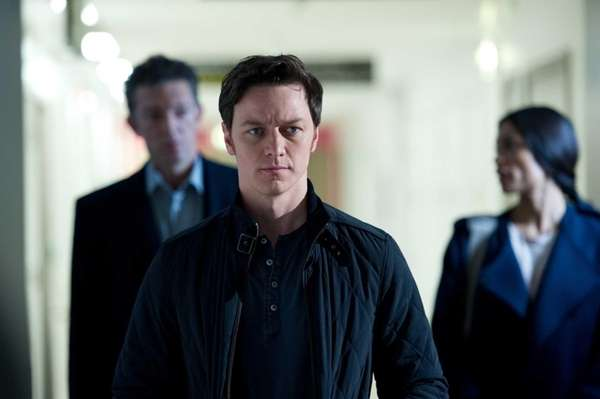 James McAvoy performs a scene on the set