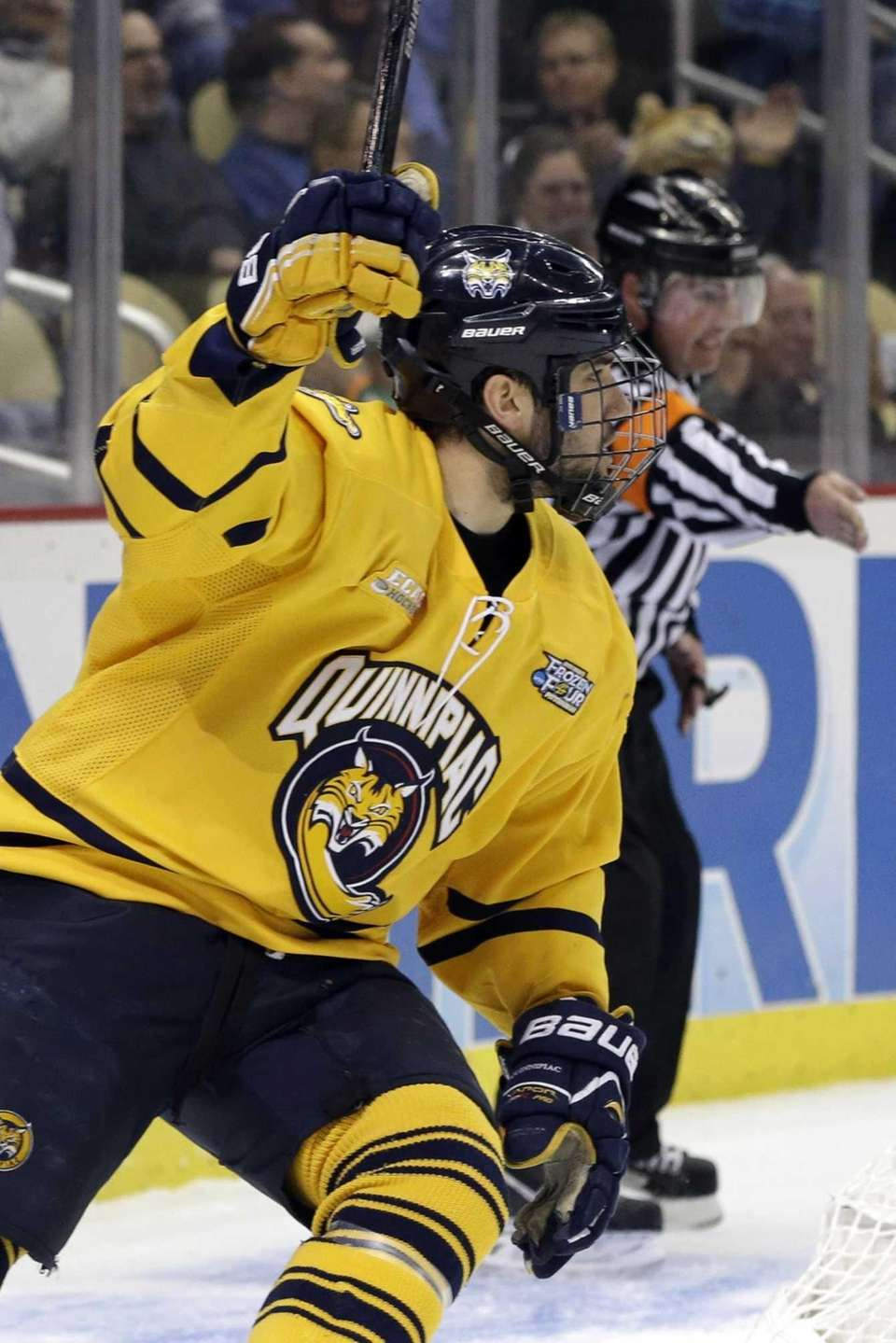 Quinnipiac forward Ben Arnt celebrates his first-period goal