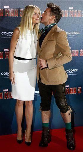 Robert Downey Jr. and Gwyneth Paltrow kiss at